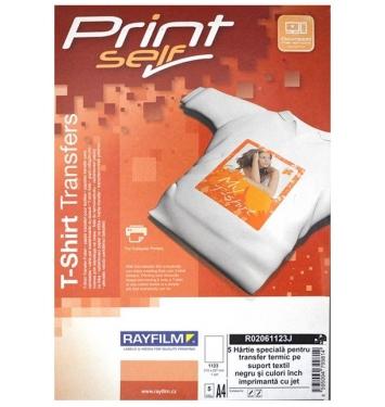 RAYFILM nažehľovací papier A4/5listov atramentové tlačiarne tmavý textil (tričko)
