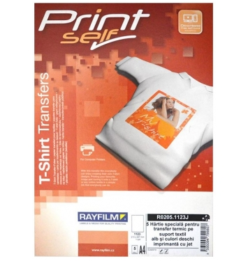 RAYFILM nažehľovací papier A4/5listov atramentové tlačiarne svetlý textil (tričko)